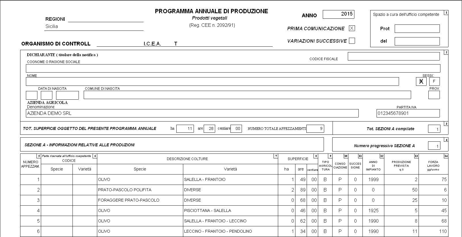 AgriGest BIO - Piano Annuale di Produzione PAP